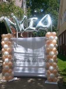 Outdoor columns with name - photo backdrop